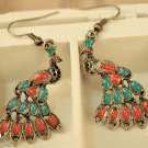 Vintage Peacock Shape Bohemian Style Multi-color Drop Earrings