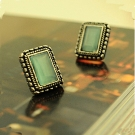Vintage Green Opal Jewelry Antique Style Ladies' Stud Earrings