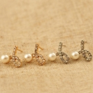 Elegant Magnificent Rhinestone Pearl Stud Earrings