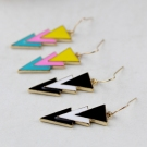 Exaggerate Vintage Hit Color Triangle Patchwork Drop Earrings