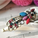 Vintage European Fashion Rhinestone Peacock Hair Clips