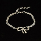 Simple Silver Hollowed Bowknot Link Bracelet