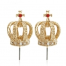 Fashion Golden Crown Stud Earrings With Rhinestone