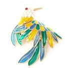 Multi-color Resin Bird Ladies' Brooch