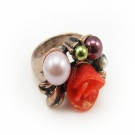 Vintage Pearl Flower Cocktail Ring
