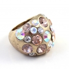 Vintagel Gold Diamond Rhinestone Cocktail Ring