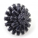 Fashion Black Rhinestone Flower Ring