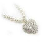 Fasion Pearl Heart-shaped Rhinestone Pendant Necklaces