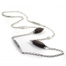 Hollow-out Silver Plated Wooden String & Strand Necklace