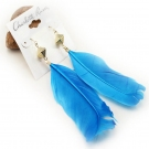 Simple Fashion Blue Feather Earrings