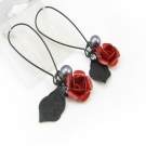 Fashion Red Rose Dangle Leverback Earrings
