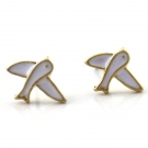 Fashion Lovely Little White Bird Stud Earrings