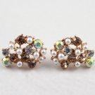 Fashion Lovely Golden Rhinestone Pearl Stud Earring