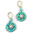 Fashion Pink/Blue Flowers Pearl Hoop Earrings