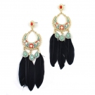 Luxury Multicolor Gold Plated Alloy Feather Drop Earrings