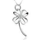 Elegant Lucky Four Leaf Clover Gemstone Pendant Necklace