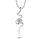 Chic Silver Rhinestone Pendant Necklace