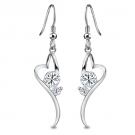Exquisite Silver Heart Embedded Cubic Zirconia Drop Earring