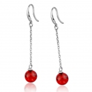 Fashion Red Beads 925 Sterling Silver Dangle Earring