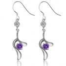 Chic Elegant Purple Crystal 925 Sterling Silver Drop Earring