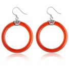 Vintage Red Agate 925 Sterling Silver Hoop Earring