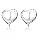 Simple Peach Heart 925 Sterling Silver Stud Earring