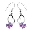 Exquisite Heart Shape 925 Sterling Silver Purple Crystal Drop Earring