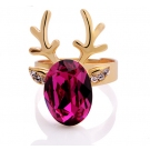 Exquisite Antler Shape Austrian Crystal Ring