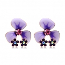 Fashionable Flower Shape 18K GP Austrian Crystal Stud Earring