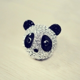 Full Diamand Bling Chic Panda Animal Ring