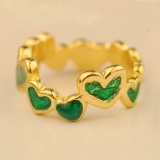 Unique Heart Beads Thin Band Ring for Women