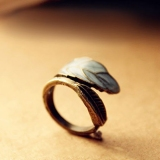 European Fashion Color ceramic Glaze Leaf Vintage Ring