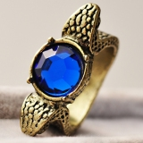 Vintage Double Snakes Blue Rhinestone Cocktail Ring