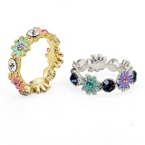 Korea Fashion Jewellery Flower Rhinestone Ring