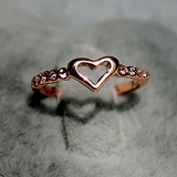 Elegant Exquisite Golden Heart Rhinestone Set diamond Cocktail Ring