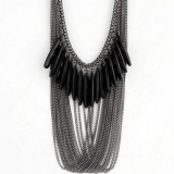 Personalized Black Gems Fashion Ladies' Tassel Bib Necklace