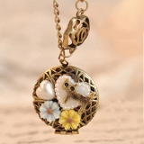 Vintage Hollowed Flower Heart Pearl Locket Necklace