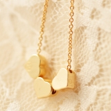 Fashion Short Golden Heart Chain Pendant Necklace
