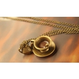 Vintage Bronze Coffee Cup Teapot Spoon Pendant Necklace