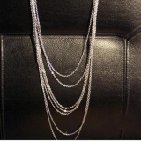 Vintage Silver Multi-layer Tassel String & Strand Necklace