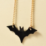 European New Style Personalized Long Black Bat Pendant Necklace