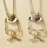 Vintage Chic Hat Glasses Beard Chain Pendant Necklace