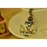 European Style Vintage Blue Anchor Chain Pendant Necklace