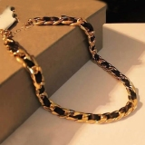 Black Ribbon Gold Plated Alloy String & Strand Necklace