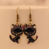 Vintage Black Resin Smile Cat Short Lovely Drop Earrings