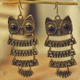 Vintage Bronze Owl Trendy Drop Earrings for Women