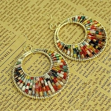 Fashion Ladies' Multi-color Hoop Earrings with Beads