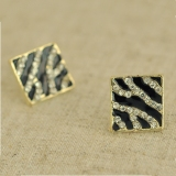 Unique Fashion Black Elegant Rhombic Stud Earrings