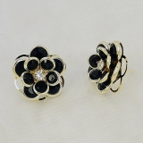 Trendy Black Rose Earring Elegant Resin Flower Stud Earrings