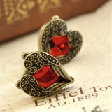Fashion Red Gemstone Ladies' Chic Stud Earrings